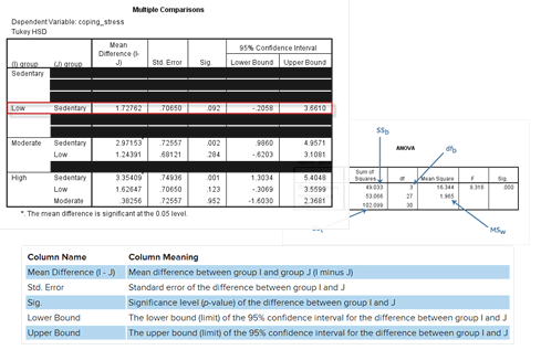 Screenshots of results tables in SPSS Statistics to interpret a one-way ANOVA