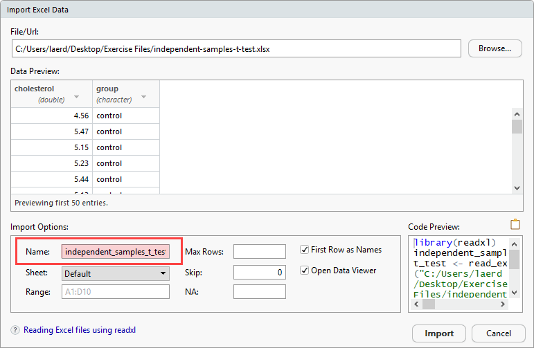 Independent-samples t-test using R, Excel and RStudio (page 2