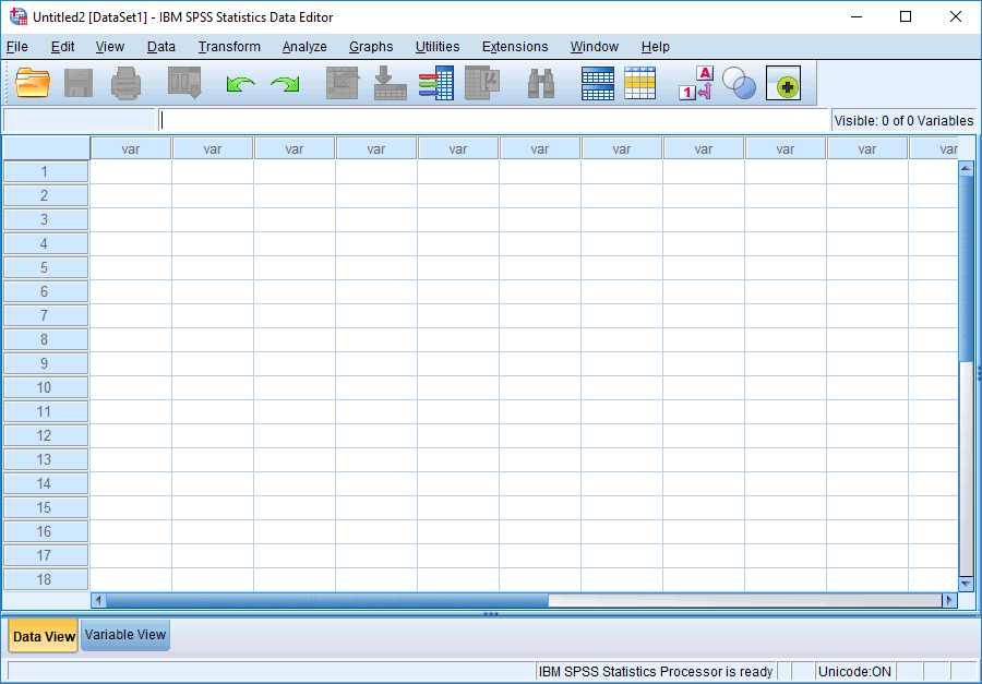 Creating a new file in SPSS Statistics versions 22 to 25