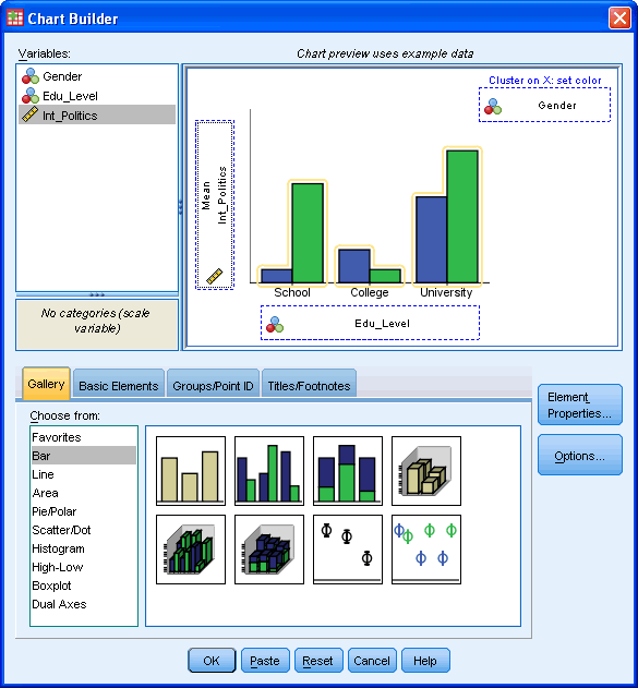 A Clustered Bar Chart in SPSS Statistics - selecting the