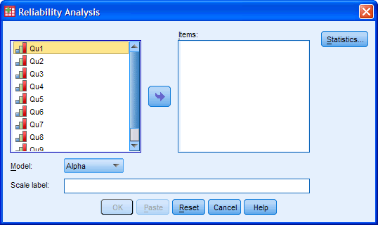 Cronbach's Alpha Dialogue Box