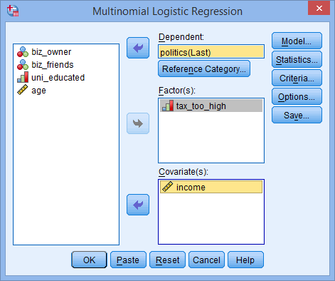 How to perform a Multinomial Logistic Regression in SPSS