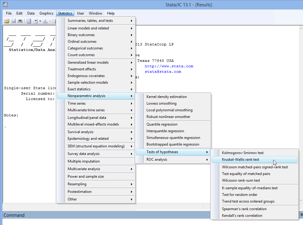 Kruskal-Wallis H test in Stata | Procedure, output and