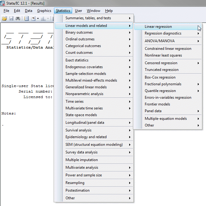 Linear Regression Analysis in Stata - Procedure, output and